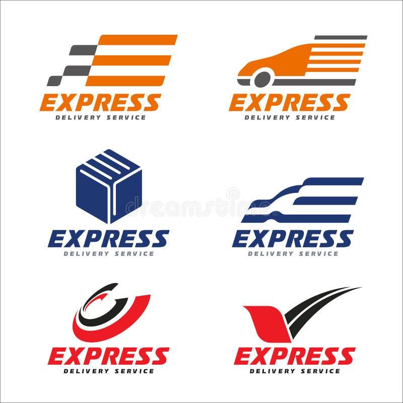 O logotipo do serviço de entrega expressa com carro do transporte, a caixa, o círculo da seta e o pássaro assinam a cenografia do ilustração royalty free
