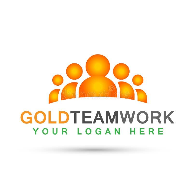 O logotipo do trabalho da equipe no vetor do ícone do símbolo dos povos do trabalho de grupo da celebração da educação da parceri ilustração stock