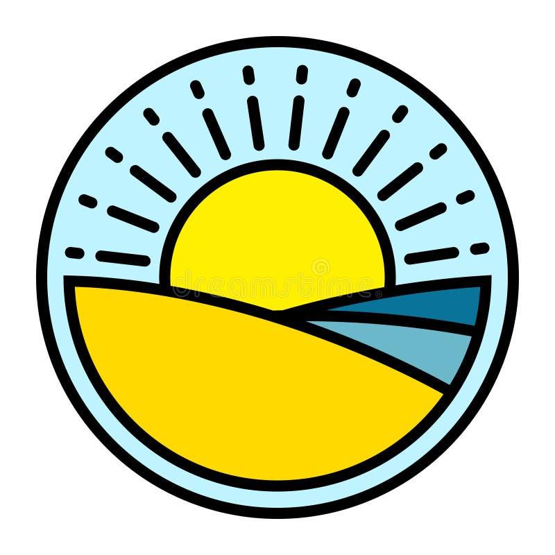 O logotipo do verão com o mar da areia da praia acena e sol ilustração do vetor