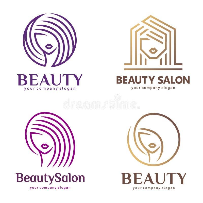 O logotipo do vetor ajustou-se para o salão de beleza, cabeleireiro, cosmético ilustração stock