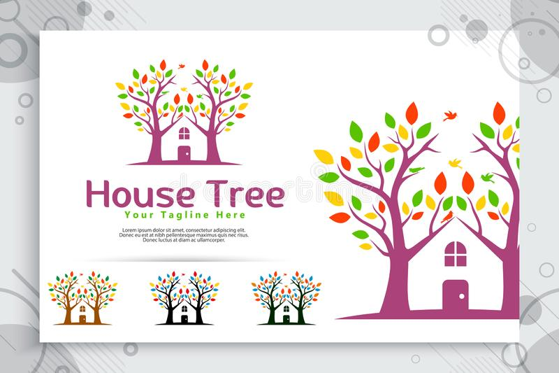O logotipo do vetor da casa na árvore fez de duas árvores incorpora com casa como um ícone do símbolo uma residência como a casa  ilustração stock