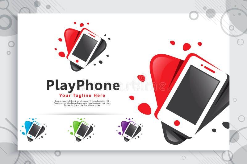 O logotipo do vetor do telefone do jogo com conceito simples do estilo, jogo abstrato do ícone da ilustração e telefone pode usar ilustração do vetor