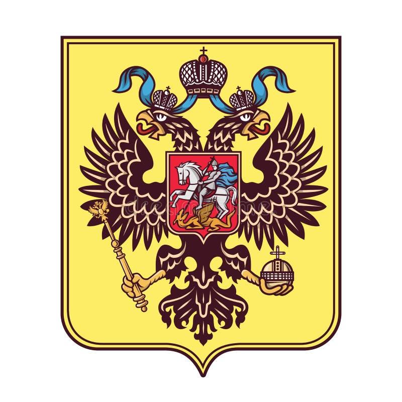 O logotipo dobro-dirigido brasão da águia do russo isolou-se ilustração stock