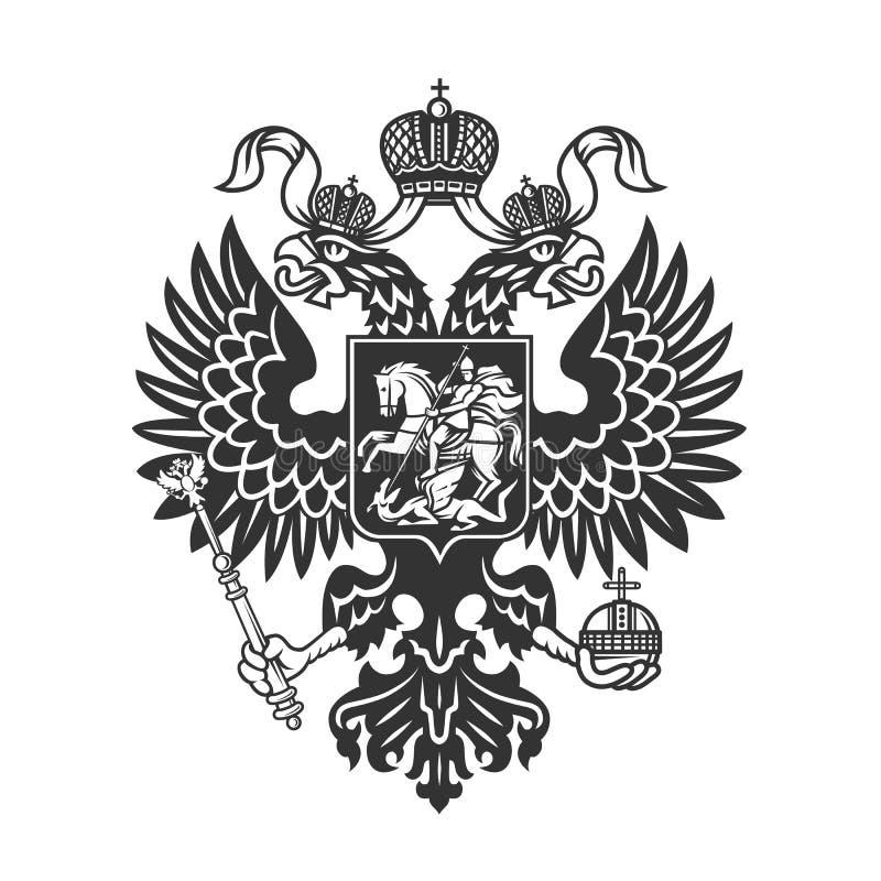 O logotipo dobro-dirigido brasão da águia do russo isolou-se foto de stock