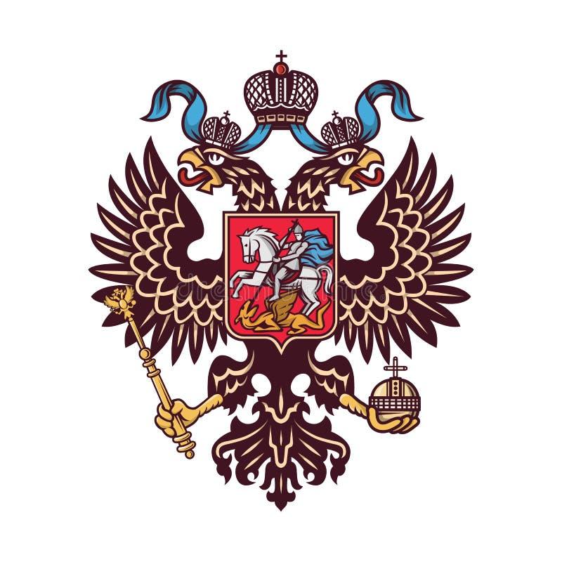 O logotipo dobro-dirigido brasão da águia do russo isolou-se imagem de stock royalty free