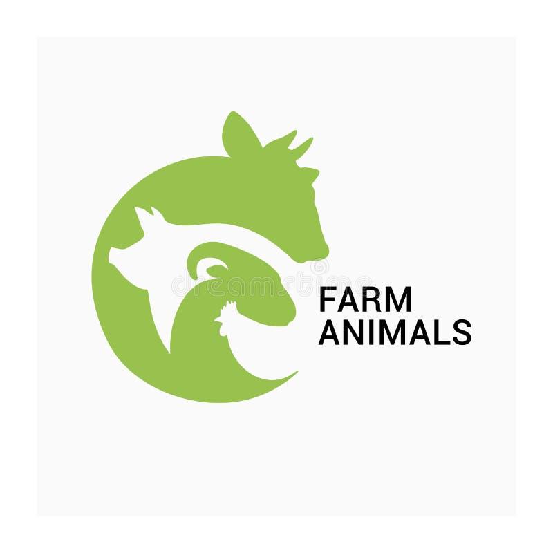 O logotipo dos animais de exploração agrícola, fazendeiros introduz no mercado o ícone do vetor, logotipo da produção animal ilustração stock