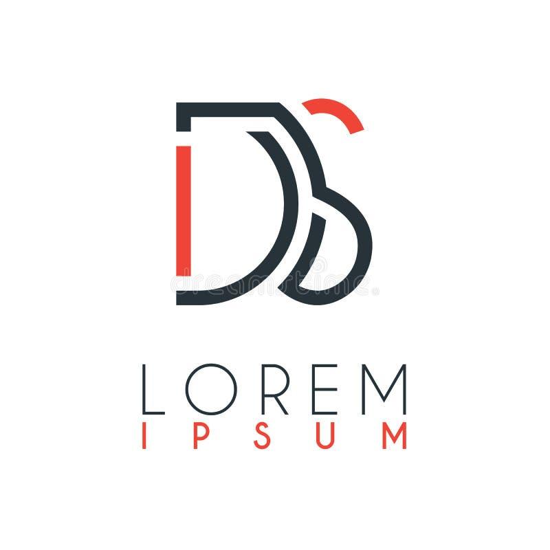 O logotipo entre a letra D e a letra S ou DS com uma determinada distância e conectado pela cor alaranjada e cinzenta ilustração do vetor