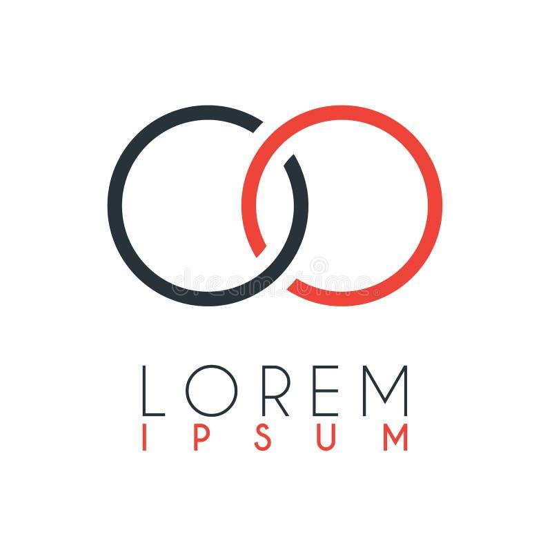 O logotipo entre a letra O e a letra O ou OO com uma determinada distância e conectado pela cor alaranjada e cinzenta ilustração stock