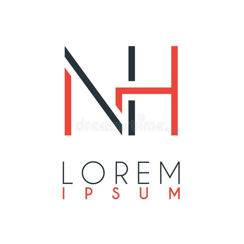 O logotipo entre a letra N e a letra H ou NH com uma determinada distância e conectado pela cor alaranjada e cinzenta ilustração royalty free