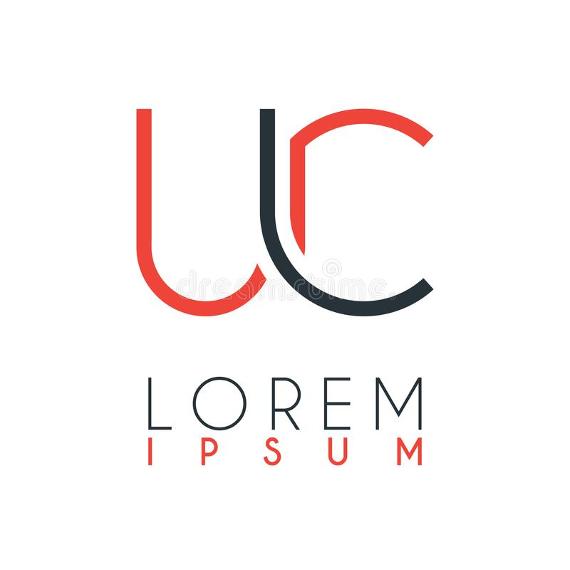 O logotipo entre a letra U e a letra C ou UC com uma determinada distância e conectado pela cor alaranjada e cinzenta ilustração stock