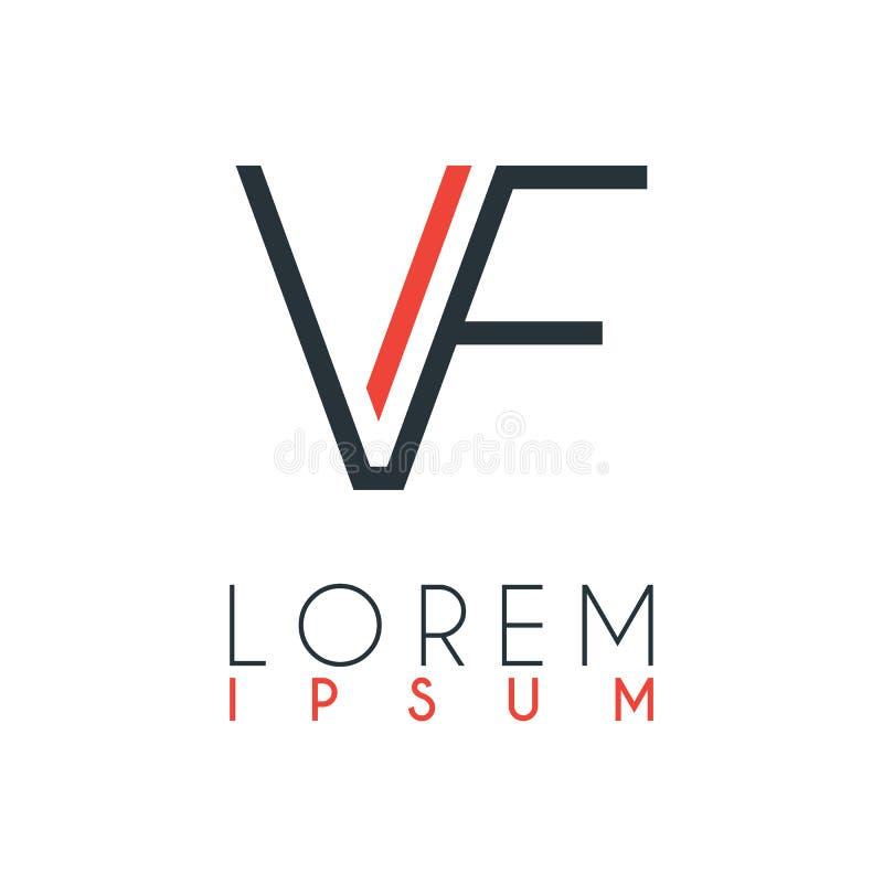 O logotipo entre a letra V e a letra F ou VF com uma determinada distância e conectado pela cor alaranjada e cinzenta ilustração do vetor