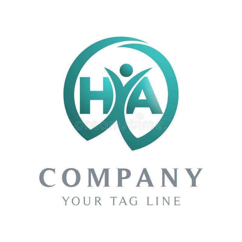 O logotipo HA da letra, o objeto da pessoa dentro dele ilustração royalty free
