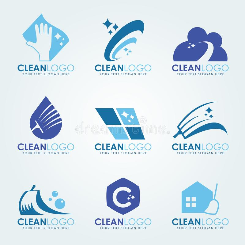 O logotipo limpo azul com luvas da limpeza, gotas de água, esfrega a escova e varre a cenografia do vetor ilustração stock