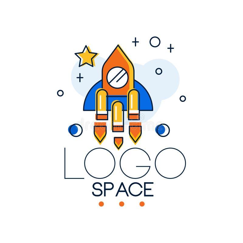 O logotipo, a missão espacial e a exploração do espaço etiquetam a ilustração do vetor em um fundo branco ilustração stock