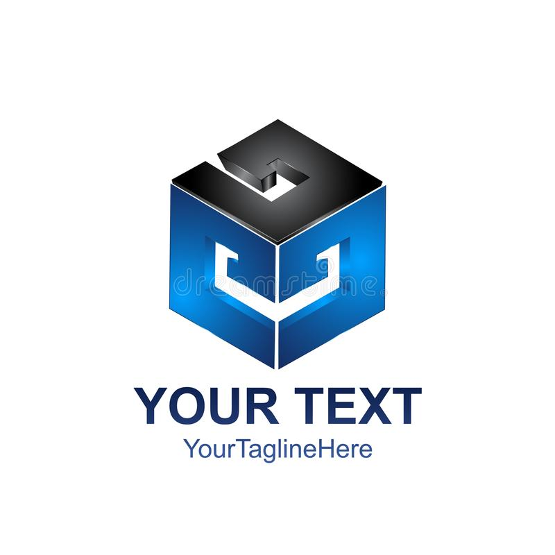 O logotipo moderno de um cubo 3d estilizado, cuba isométrico, 3D g abstrato ilustração stock