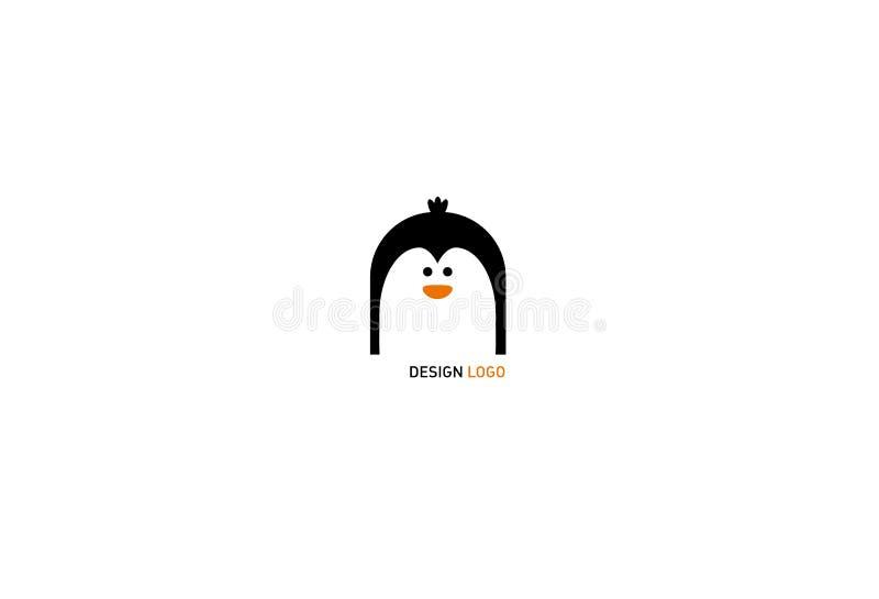 O logotipo moderno do pinguim engraçado ilustração stock