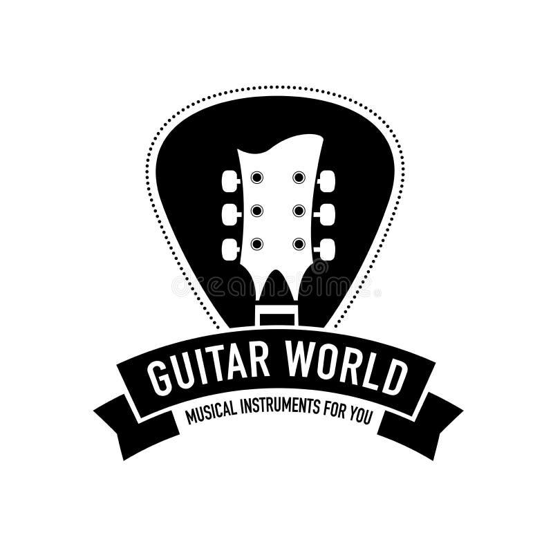 O logotipo para instrumentos musicais compra, armazena, grava o estúdio, etiqueta Forma da silhueta e do plectro do pescoço da gu ilustração royalty free
