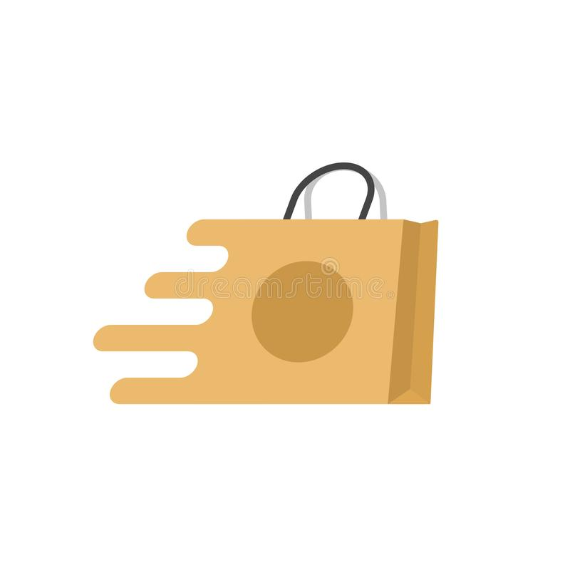 O logotipo rápido do vetor do saco de compras, ícone rápido do saco de papel dos desenhos animados lisos isolou-se, conceito da e ilustração stock