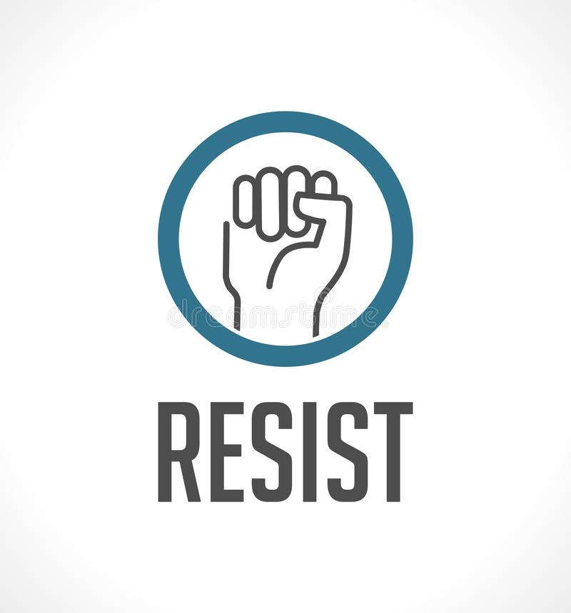 O logotipo resiste - o punho como o símbolo da resistência ilustração royalty free