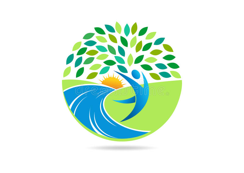 O logotipo saudável dos povos, o símbolo apto do corpo ativo e o ícone natural do vetor do centro do bem-estar projetam ilustração stock