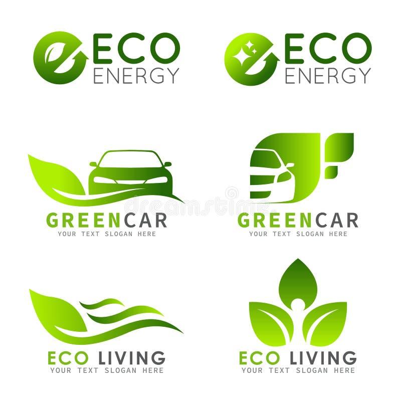O logotipo verde de ECO com letra de e, a folha e o carro vector a cenografia ilustração do vetor