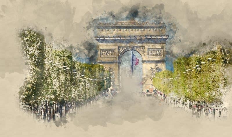 O lote do tráfego da rua no bulevar de Champs-Elysees em Paris com Arc de Triomphe triunfa arco ilustração do vetor