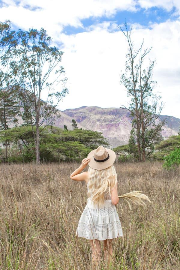 O louro novo bonito com um chapéu, está para trás na pradaria, no campo e nas montanhas fotos de stock royalty free