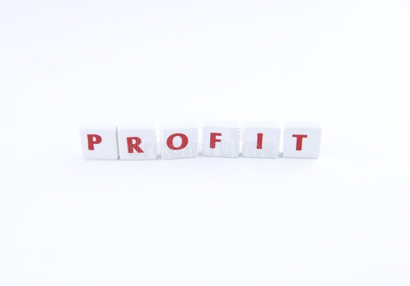 O lucro da palavra em um fundo branco fotos de stock