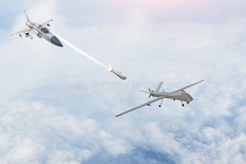 O lutador de combate lança mísseis em um alvo - o uav desvirilizou o zangão militar Conflito, guerra Forças aeroespaciais imagens de stock royalty free