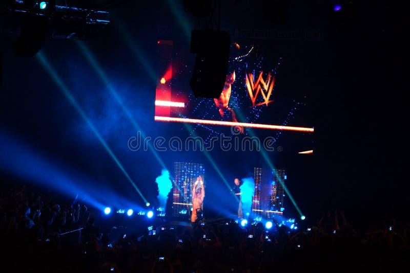 O lutador masculino Adrian Neville de NXT knells e aponta no ar imagens de stock royalty free