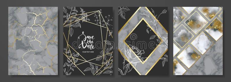 O luxo carda a coleção com textura de mármore, as flores desenhados à mão e forma geométrica do ouro Fundo na moda do vetor ilustração do vetor