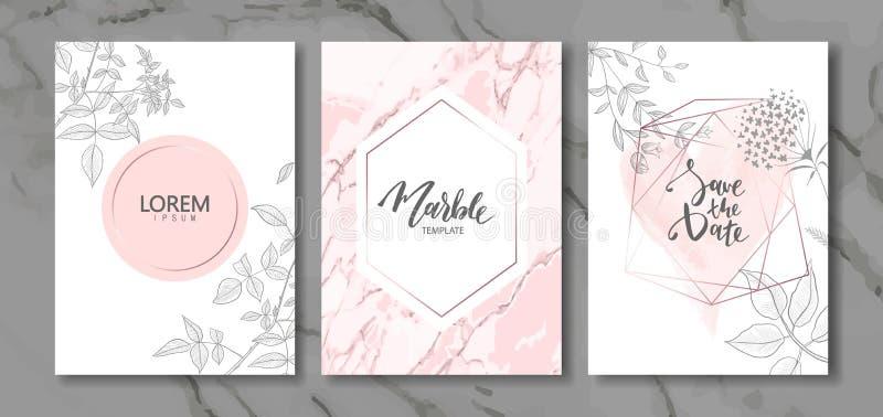 O luxo carda a coleção com textura de mármore e as plantas desenhados à mão Fundo na moda do vetor Grupo moderno de cartão abstra ilustração stock