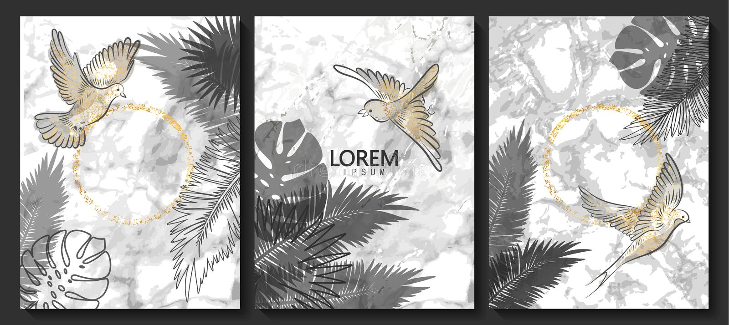 O luxo carda a coleção com textura de mármore, pássaros e as folhas tropicais Fundo na moda do vetor Grupo moderno de cartão abst ilustração stock