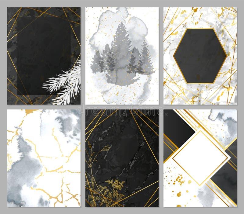 O luxo carda a coleção com textura do mármore e da aquarela, forma geométrica dourada e as plantas desenhados à mão Fundo na moda ilustração stock