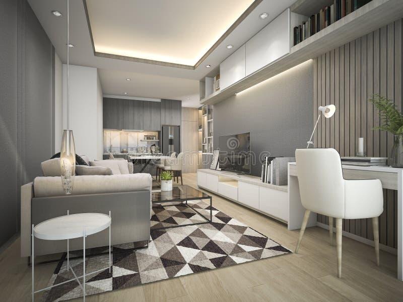o luxo da rendição 3d e a sala de visitas moderna com bom projeto cobrem o sofá ilustração stock
