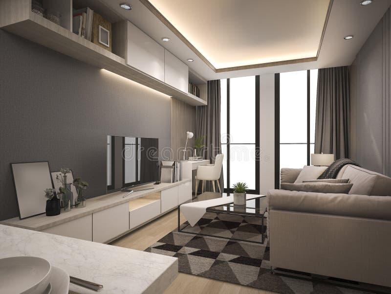 o luxo da rendição 3d e a sala de visitas moderna com bom projeto cobrem o sofá ilustração royalty free