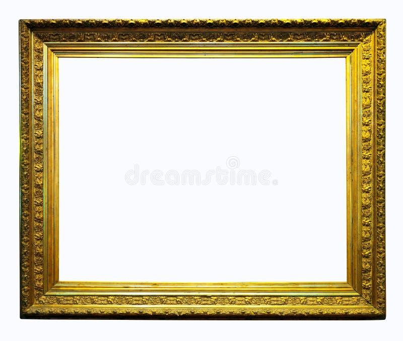 O luxo dourou o frame. Isolado com trajeto de grampeamento fotografia de stock royalty free