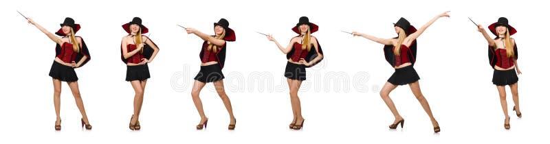 O mágico da mulher com a varinha mágica no branco fotografia de stock