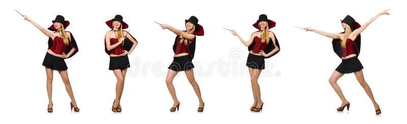 O mágico da mulher com a varinha mágica no branco fotografia de stock royalty free