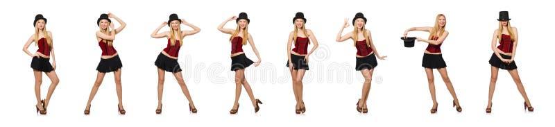 O mágico da mulher isolado no branco fotos de stock