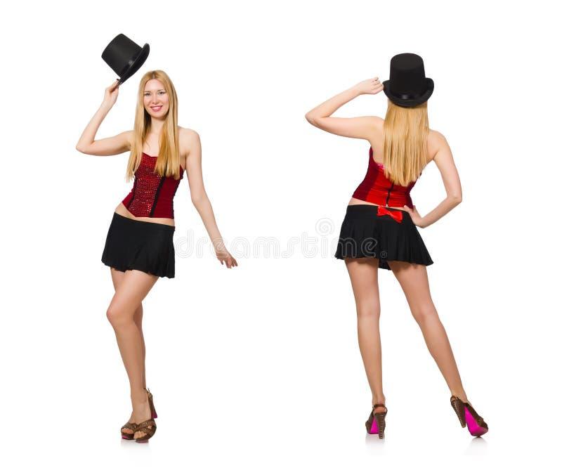 O mágico da mulher isolado no branco fotos de stock royalty free