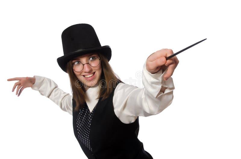 O mágico da mulher isolado no branco imagem de stock