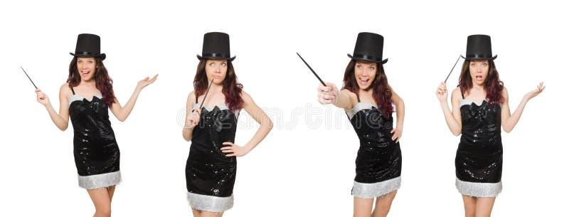 O mágico da mulher no branco imagem de stock royalty free