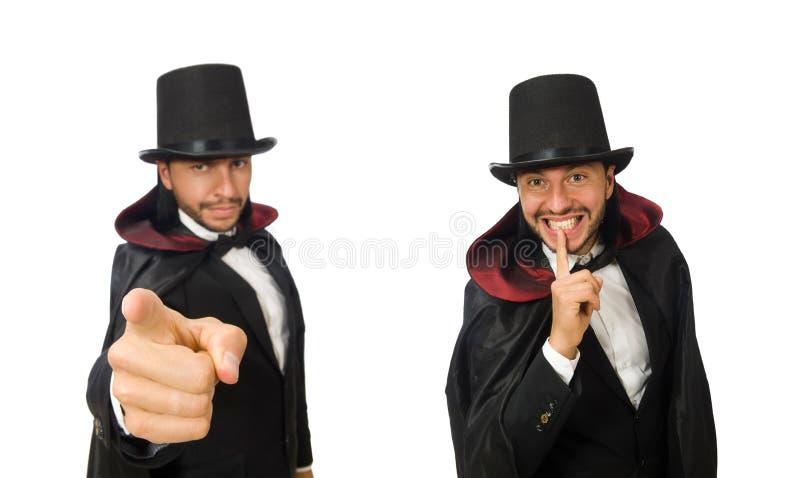 O mágico do homem isolado no branco foto de stock