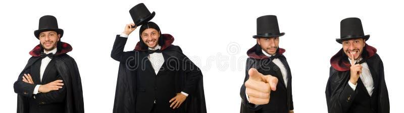 O mágico do homem isolado no branco fotografia de stock