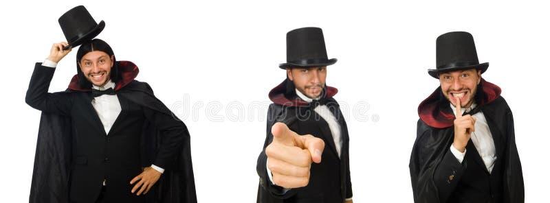 O mágico do homem isolado no branco foto de stock royalty free