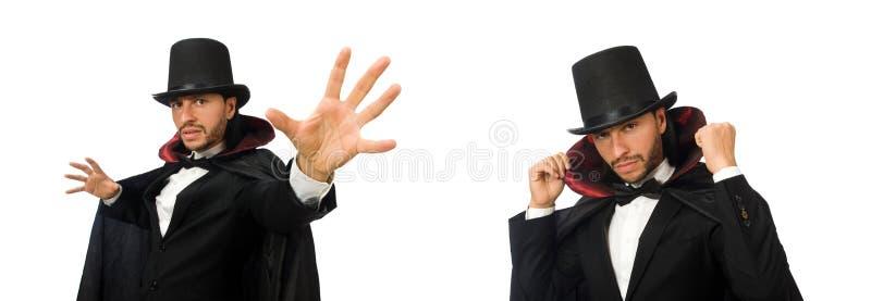 O mágico do homem isolado no branco imagens de stock royalty free