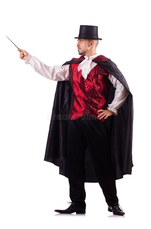 O mágico do homem isolado no branco imagem de stock royalty free