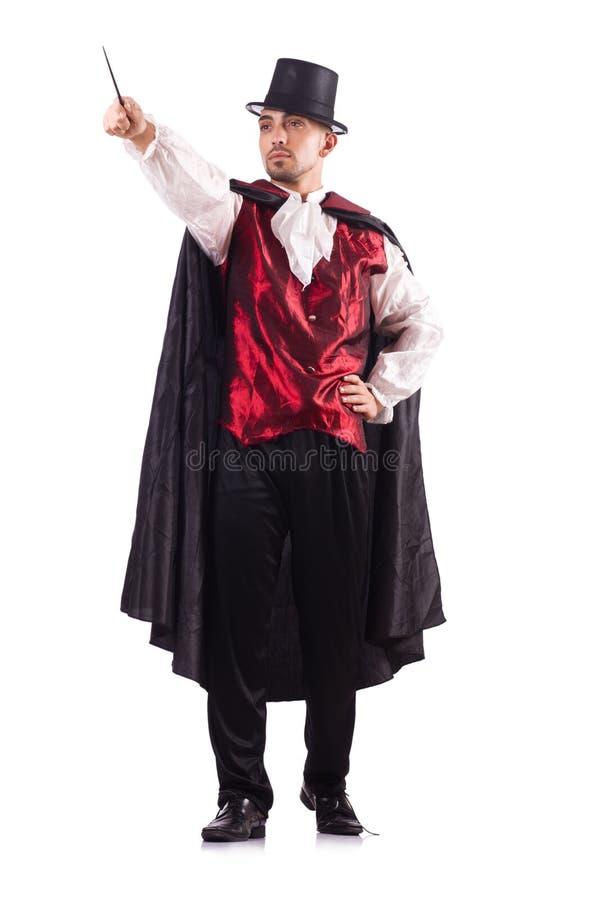 O mágico do homem isolado no branco imagem de stock
