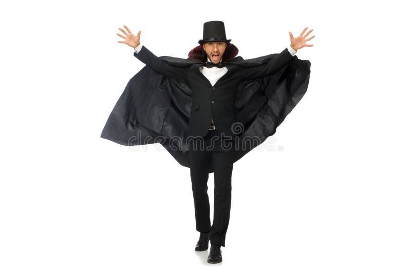 O mágico do homem isolado no branco fotos de stock royalty free
